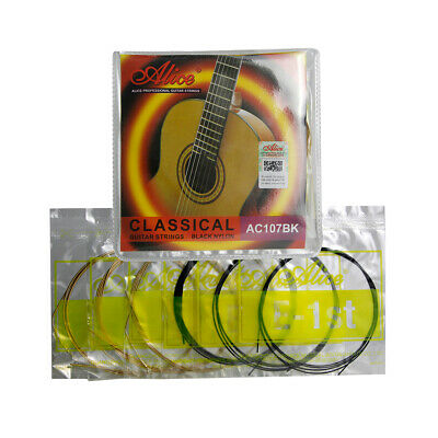 $ CDN7.09 • Buy Alice Classical Guitar String Set Black Nylon & Gold Plated Copper Alloy Wound