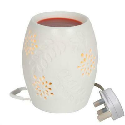 White Floral Electric Wax Burner Great For Yankee Candles • 10.30£