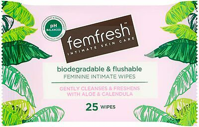 £3.55 • Buy Femfresh Daily Wipes - Biodegradable & Flushable, Pack Of 25 Wipes