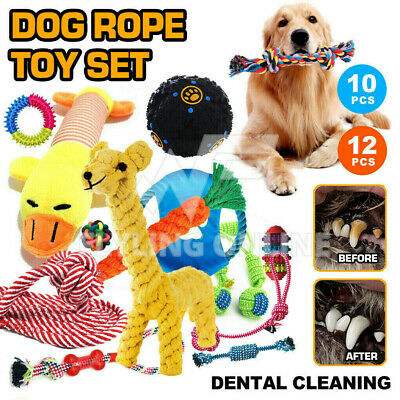 AU21.97 • Buy 11/12PCS Dog Chew Toys Rope Pet Puppy Teeth Clean Ball Braided Tough Strong Bite