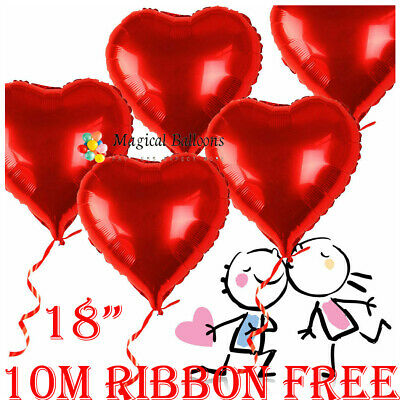 5X Red Heart Love Foil Helium Balloons Wedding Party Decration Valentine's Day • 4.96£