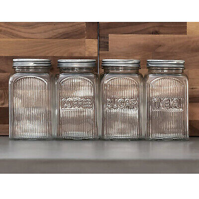 Tala Ribbed Glass Tea Coffee Sugar Storage Canister Screw Top Lid Food Container • 6.95£