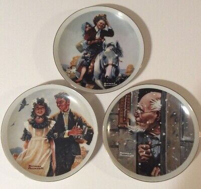 $ CDN27.01 • Buy Norman Rockwell Lot 3 Collector Plates 15 Below Young Love Off To School