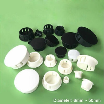 Round Plastic Black/White Blanking End Caps Tube Pipe Inserts Plug Bung 6mm~50mm • 2.18£