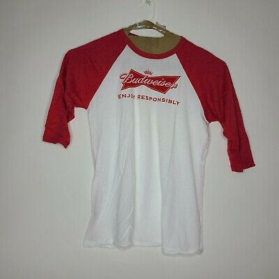 $ CDN25.34 • Buy Budweiser Mens T Shirt 3/4 Sleeves Red White Size XL New