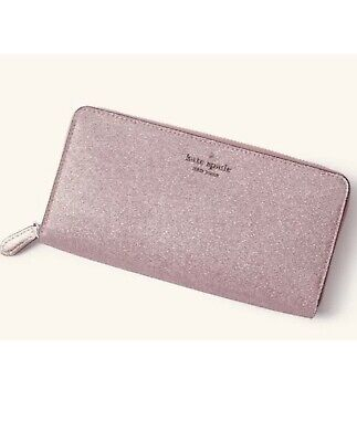 $ CDN89.30 • Buy New Kate Spade Lola Glitter Large Continental Zip Wallet Rose Pink Holiday