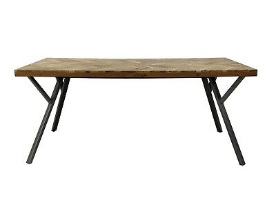 £599 • Buy Adria Parquet Style Solid Acacia Wood Luxury Industrial Dining Table Grey Legs