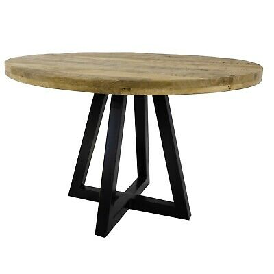AU1069.47 • Buy Ida Round Solid Mango Wood Industrial Dining Table Distressed Natural Finish