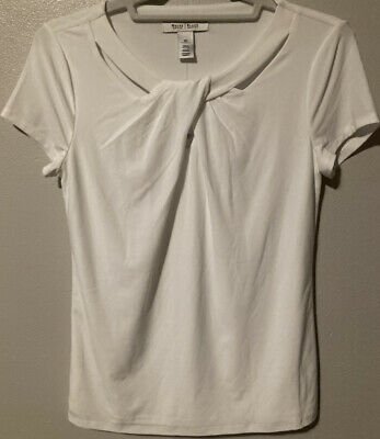 $ CDN19.02 • Buy White House Black Market XS NWT White Lined Short Sleeve Top