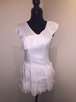 AU69.95 • Buy Sir The Label RRP $210 White Linen Frill Dress Size 0 Fits 6