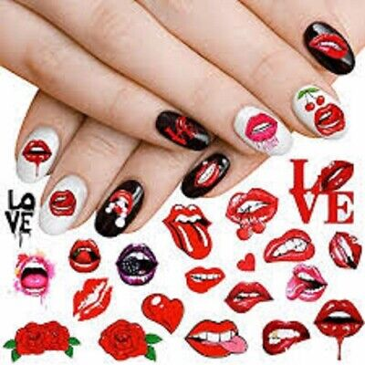 £2.85 • Buy Nail Art Stickers Decals Transfers Valentines Day Love Hearts Roses Lips (3385)