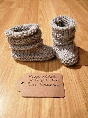 Beautiful Hand Knitted Silver Grey Baby Booties Size Newborn  • 2.50£