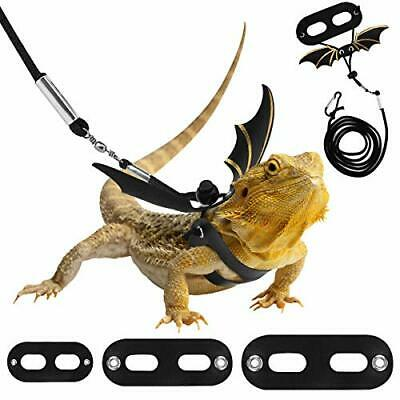 £9.99 • Buy Pawaboo Adjustable Bearded Dragon Harness And Leash, 3 Size Leather Reptile