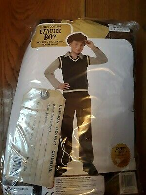 Boys Evacuee Ww2 Costume And Cardboard Tag, Only Hat And Tank Top Worn, Age 10-1 • 12.99£