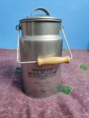 $22.99 • Buy Beekman 1802 Goat Dairy Farm Milk Pail Can Old Fashioned Tin Wooden Handle Empty