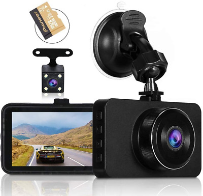 AU64.04 • Buy Dash Cams For Cars Front And Rear Full HD Night Vision 1080P Car Dash Camera, SD