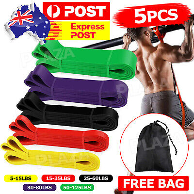 AU32.85 • Buy 5pcs Set Heavy Duty Resistance Yoga Bands Loop Home Workout Gym Fitness Exercise