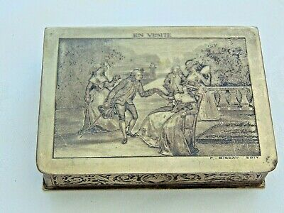 Antique French Silver Plated Engraved Trinket Jewellery Box 'en Visite' Signed • 60£