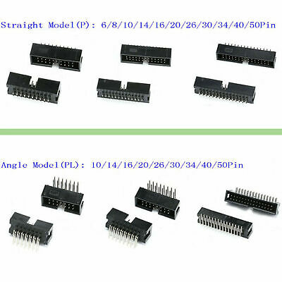 2.54mm IDC Straight & Angle Pin Boxed Headers Connector DC3 ISP JTAG Socket P&PL • 0.99£