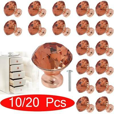 10/20 Crystal Diamond Glass Gold Door Knobs Cupboard Drawer Furniture Handle UK • 12.99£