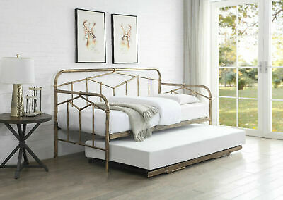 £319.99 • Buy Maxine Antique Bronze Metal Day Guest Bed With Pull Up Trundle Industrial Style