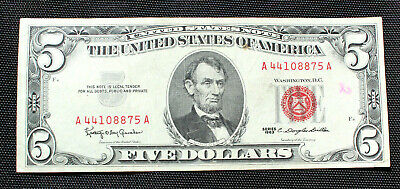 $ CDN11.48 • Buy $5 1963 United States Red Seal Very Fine Plus Or Better Each Bill Is Crisp!