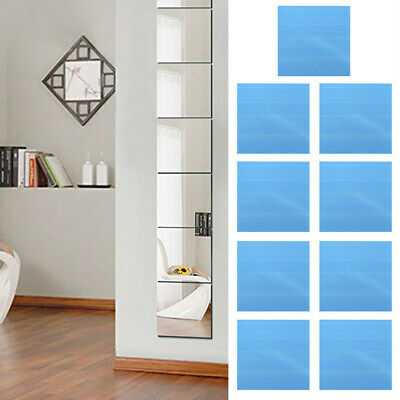 DIY Home Decor Mirror Tiles Wall Sticker Square Self Adhesive Stick-On Art UK • 4.09£