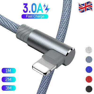 2M 3M 90 Degree Fast Charge Charger USB Data Cable Lead For Apple IPhone IPad • 3.48£