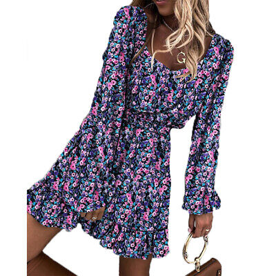 LADIES Summer Dress Vintage Ruffle Long Sleeves Round Neck Print Casual Outfit • 13.64£
