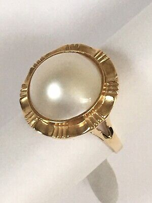 $250 • Buy P51194, New 14k Solid Yellow Gold Y/G Ring Natural Mabe Pearl , SZ-7, Round