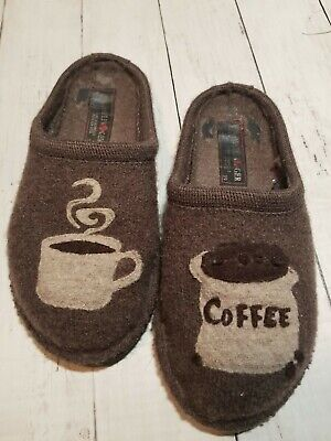 Womens Haflinger Slippers Pure Wool Coffee Cup Motif / Brown Size 39 • 25.33£