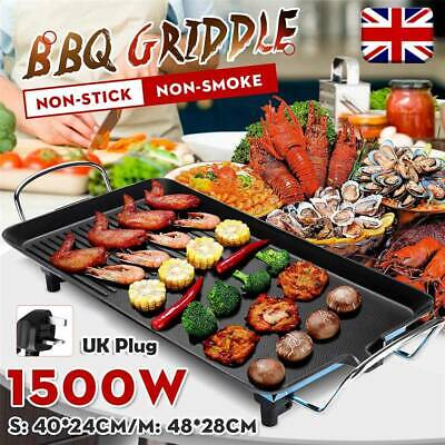 Indoor/Outdoor Electric BBQ Grill Griddle Cast Iron Hot Plate Desktop Cooking • 23.99£