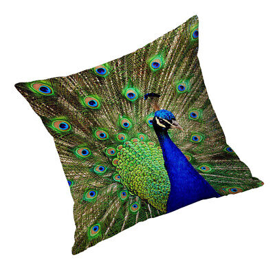 Square Cushion Cover Pillowslip Decoration Cover Green Peacock 60x60cm • 8.66£