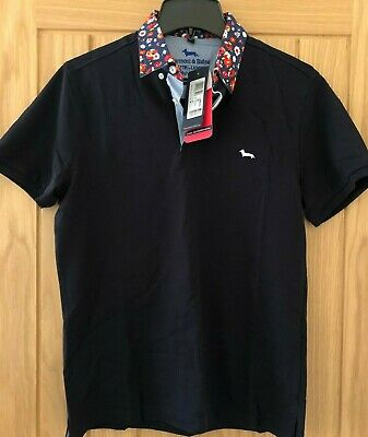 Harmont And Blaine Navy Blue Polo Shirt With Floral Collar, BNWT, Size Small • 25£