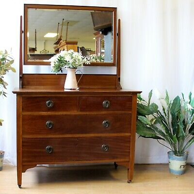 £135 • Buy  Antique Edwardian Dressing Chest Table With Mirror
