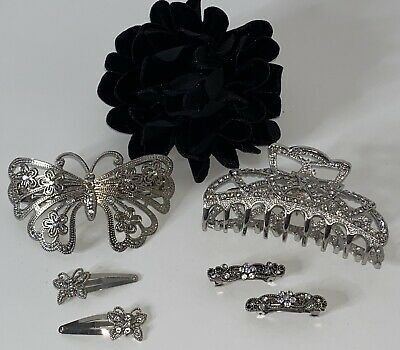 $ CDN36.93 • Buy New Lot Of 7 Bejeweled Fashion Bridal Hair Clips Accessories Butterfly Barrette