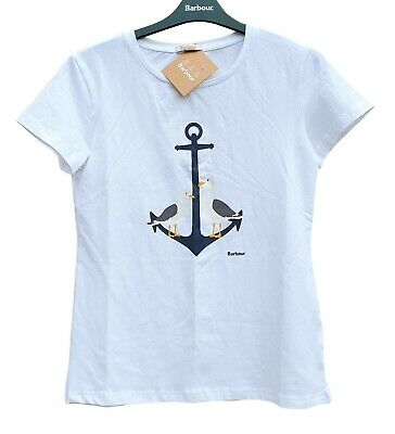 BARBOUR Ladies White Short Sleeved T Shirt Anchor Seagull Design Tee Top UK 10 • 28.99£