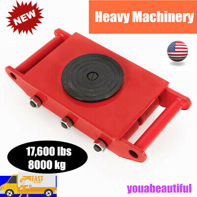 $80.01 • Buy 8T 17600lbs Heavy Duty Machine Dolly Skate Roller Machinery Mover 360° Cap Red