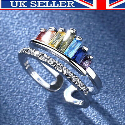 Double Band Rainbow Ring Silver Adjustable Womens Girls Jewellery Love Gift UK ! • 5.39£