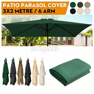 3x2m 6 Arm Replacement Fabric Garden Parasol Canopy Cover Waterproof UV  • 28.77£