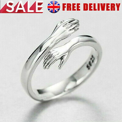 925 Sterling Silver Love Hug Ring Band Open Finger Fully Adjustable Jewelry UK ! • 4.99£