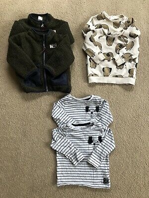 Twin Boys Baby Clothes H&M 6-9 Months Bundle T Shirt, Shearling Jacket & Jumper • 15£