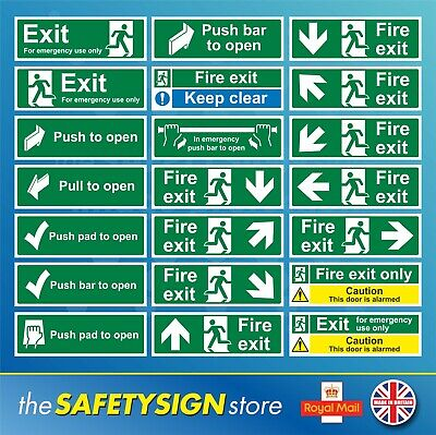 £0.99 • Buy Fire Exit Safety Stickers Signs Emergency Pull Push Pad Bar  Alarmed Keep Clear