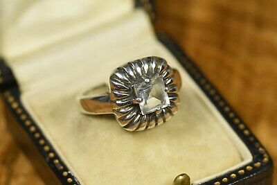 Princess Cut Daisy Design Solitaire Ring Pale Blue Stone Size N1/2 925 Silver • 23.99£