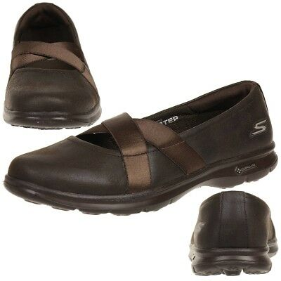 SKECHERS GO STEP - DAINTY Ladies Summer Shoes Slip On Slippers Choc Ballerinas • 41.58£