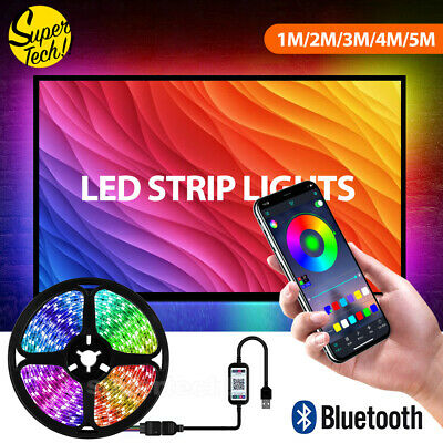 AU13.95 • Buy RGB LED Strip Lights IP65 Waterproof 5050 5M 300 LEDs 12V USB Bluetooth OZ