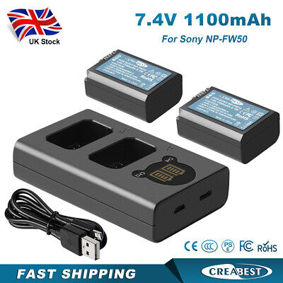 £22.95 • Buy 2x 1100mah Battery & Dual Charger For Sony NP-FW50 Alpha A3000 A5000 A6500 A6000