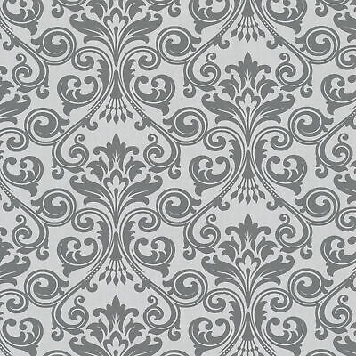 Fine Décor - Grey And Silver Glitter Large Textured Damask Feature Wallpaper • 9.99£