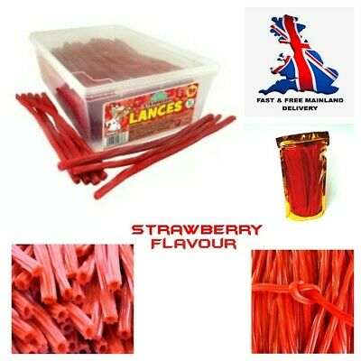 Strawberry Lances Retro Sweets Pencil Twists Jelly Gummy Chewy + GOLD GIFT BAG • 5.55£
