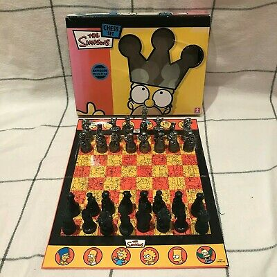 Collectable 2005 The Simpsons Antiqued Metal Style Chess Set - Complete • 19.99£